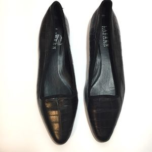 Lauren Ralph Lauren Nerissa Flat Leather 8 Black